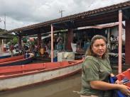 Sari at boat landing